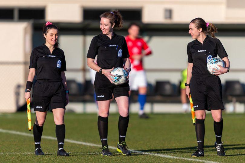 Referee Georgia Ghirardello and assistant referees Lauren Hargrave and Delfina Dimoski