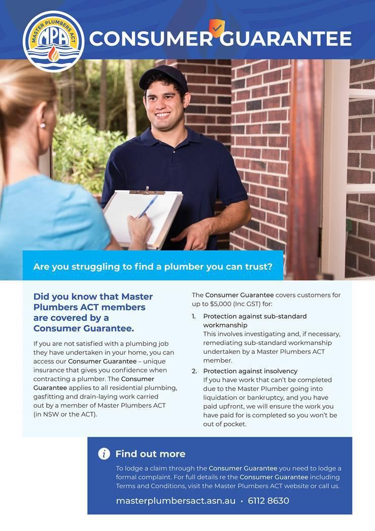 Master Plumbers ACT consumer guarantee.