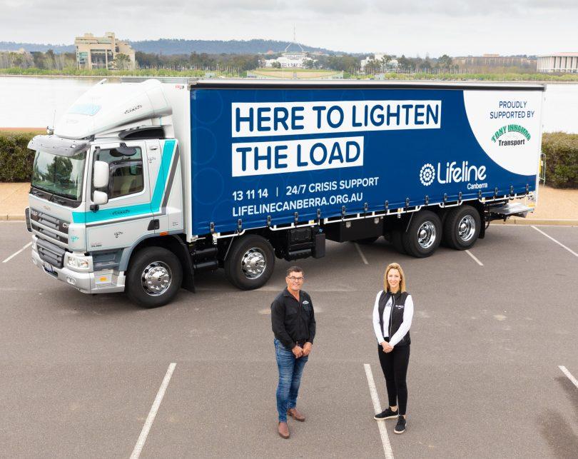Tony Innaimo and Lifeline Canberra CEO Carrie Leeson