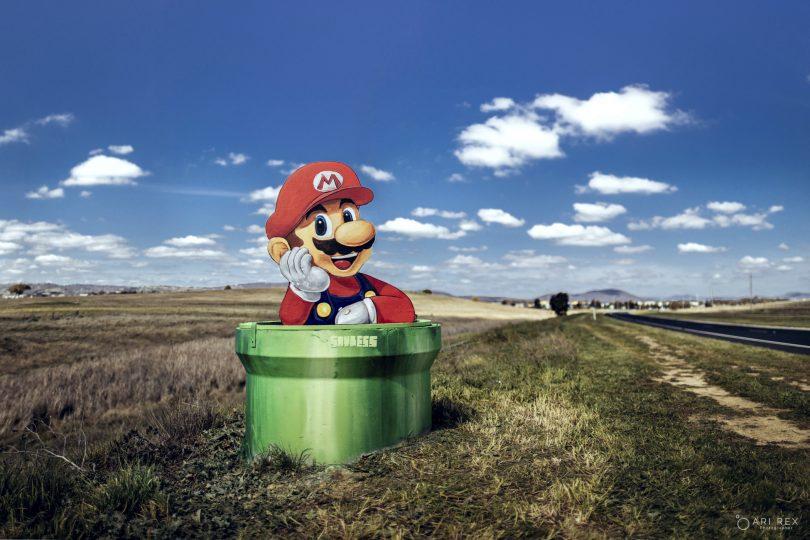 Mario cutout on Gungahlin Drive