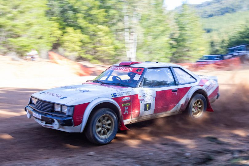 Neal Bates and co-driver Anthony Caldwell driving in the Blue Range Rallysprint.