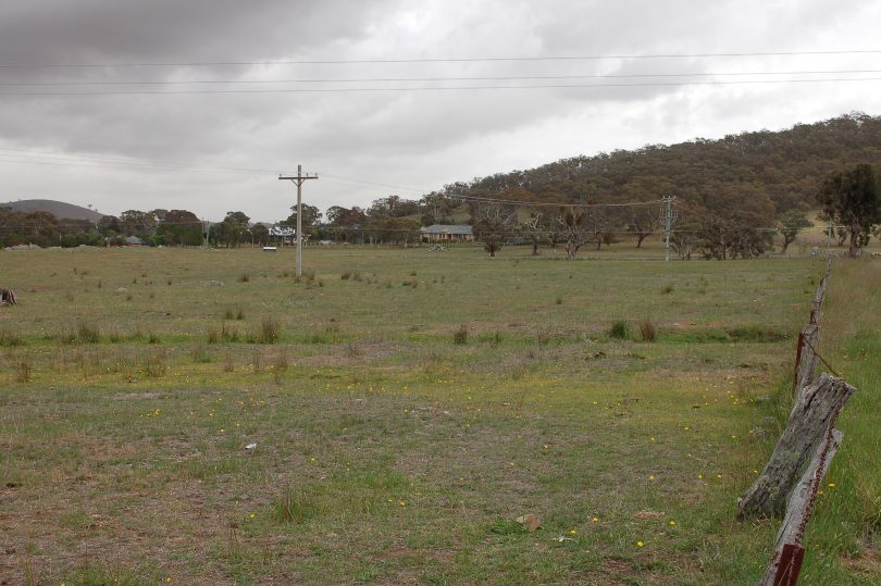 The proposed memorial park site looking west