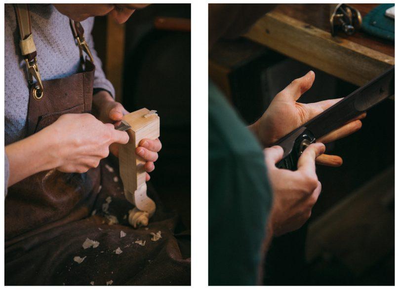 Miranda carves the ornate scroll head