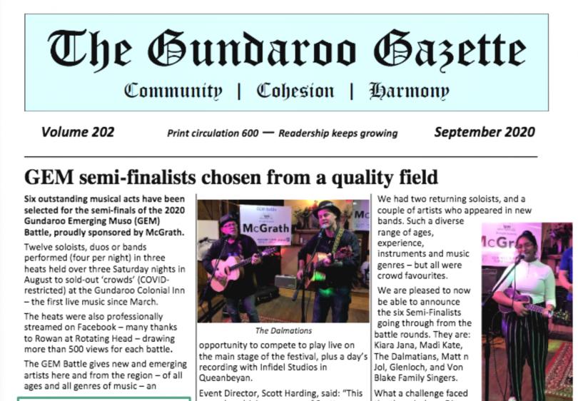 The latest Gundaroo Gazette