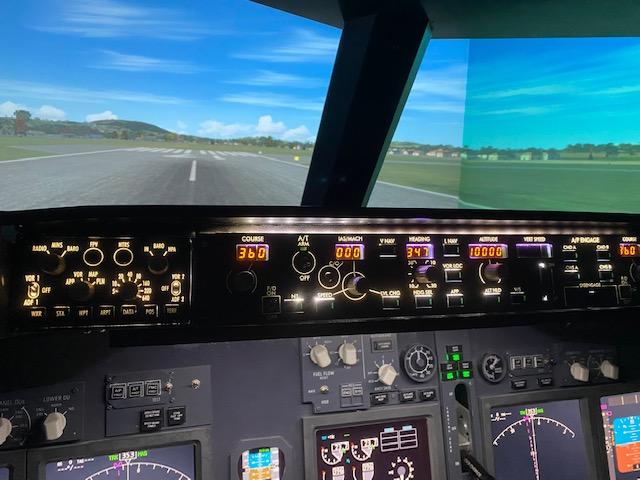 Interior of cockpit at Jet Flight Simulator Canberra.