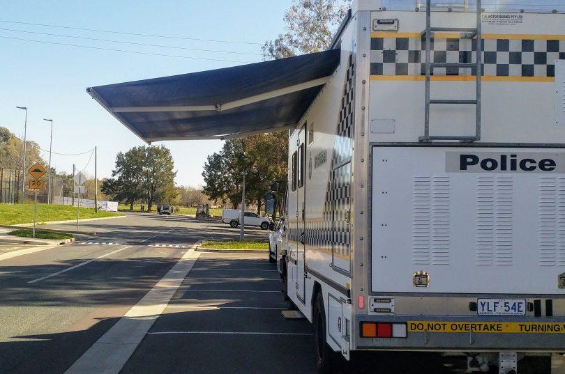 Police van at site of a stabbing
