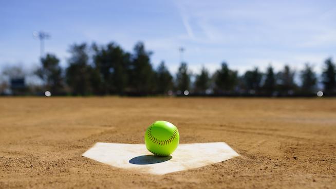Softball on home plate