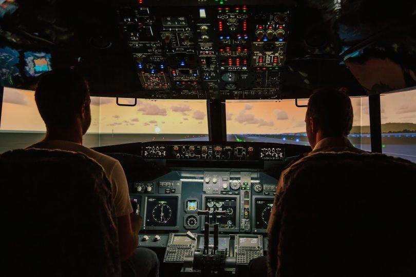 Cockpit of Boeing 737-800 at Jet Flight Simulator Canberra.