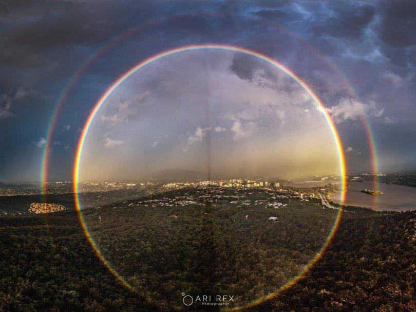 Full circle rainbow in Belconnen.