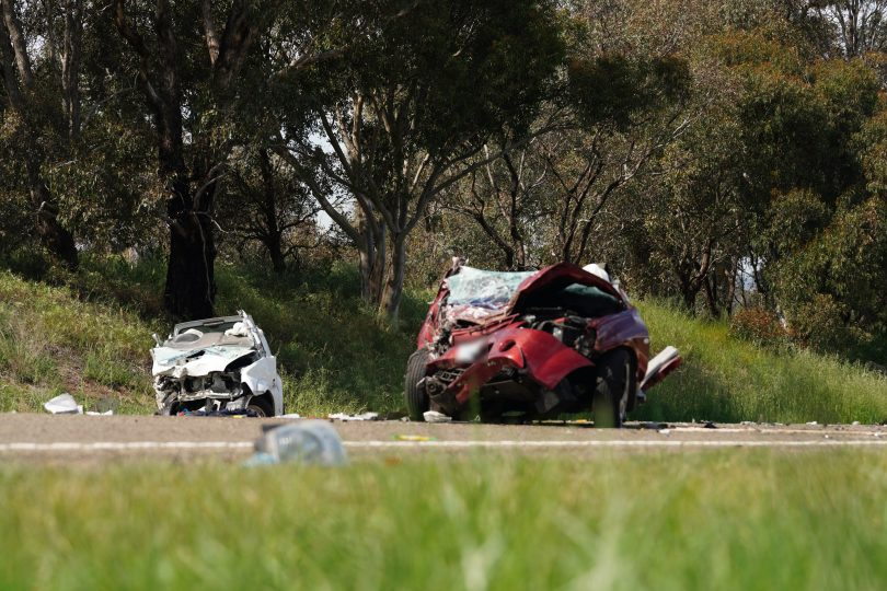 Two people have been transported to hospital following the accident on William Hovell Drive. Photo: ACT Policing.