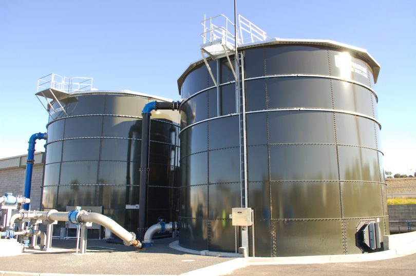 Storage tanks for Googong's recycled water system.