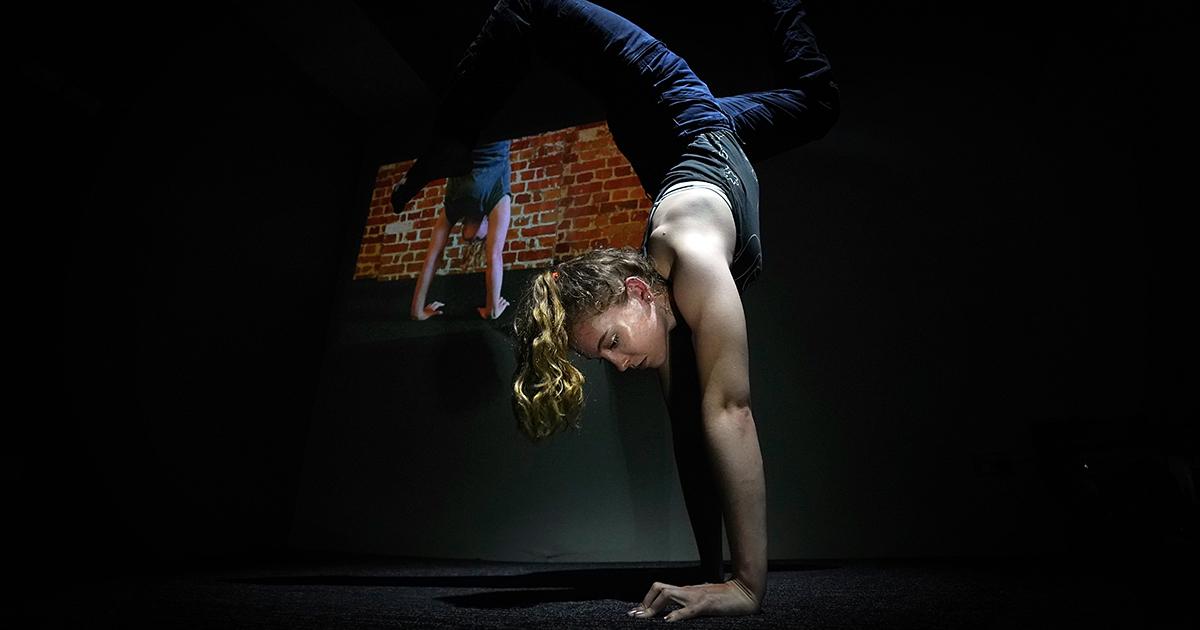 Circus performer at Belco Arts.