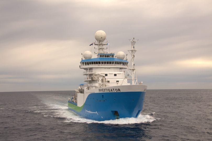 Marine research vessel RV Investigator at sea.