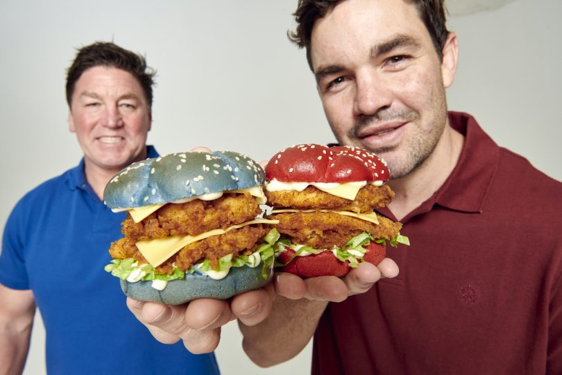 "Mark ""Spudd"" Caroll and Adam Guerra with the 2020 KFC State of Origin Burger"