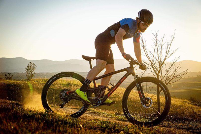 Tristan Ward on a mountain bike