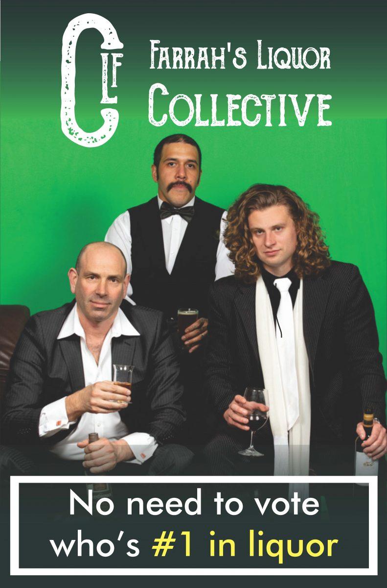 Poster for Farrah's Liquor Collective.