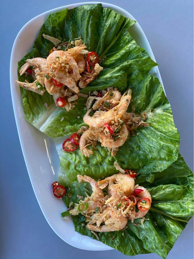 San Choy Bao with fried crispy fresh school prawns
