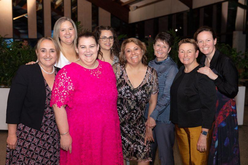 Eight women at Rubik3 Canberra Women in Business Awards event