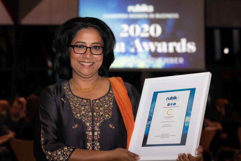 Sunita Kumar holding certificate at 2020 Canberra Women in Business Awards.