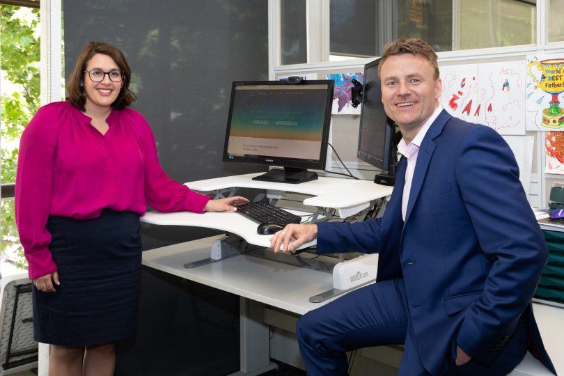 Kirsten Cameron and Sam Irvine in Snedden Hall & Gallop office.