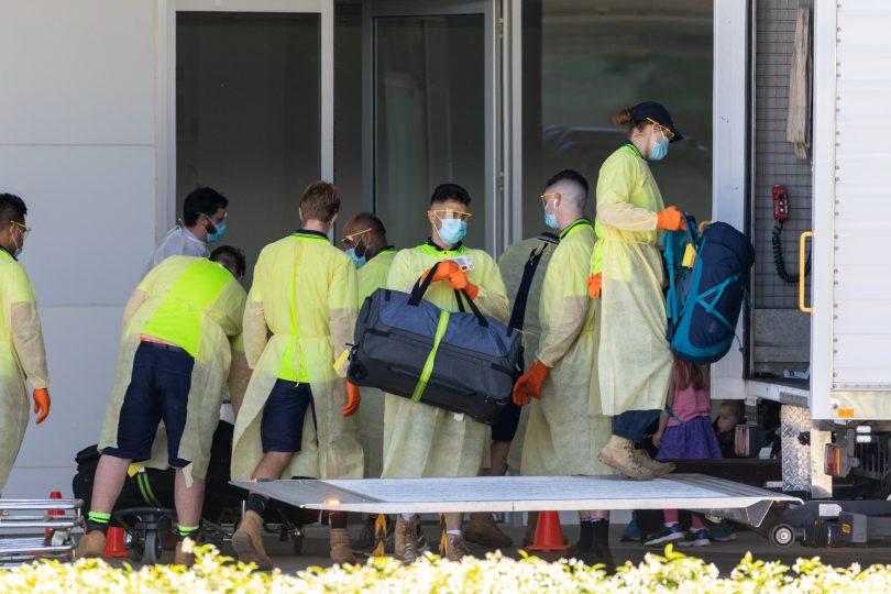 Repatriating Australians at Canberra Airport