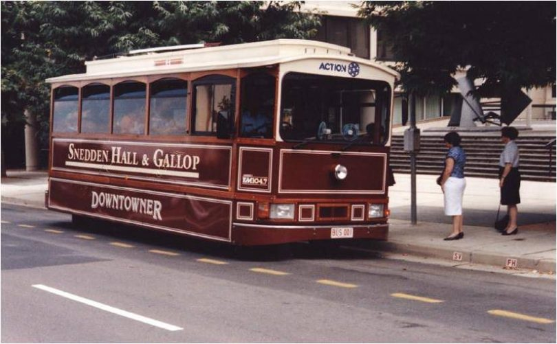 Snedden Hall & Gallop Downtowner bus service in 1990s.