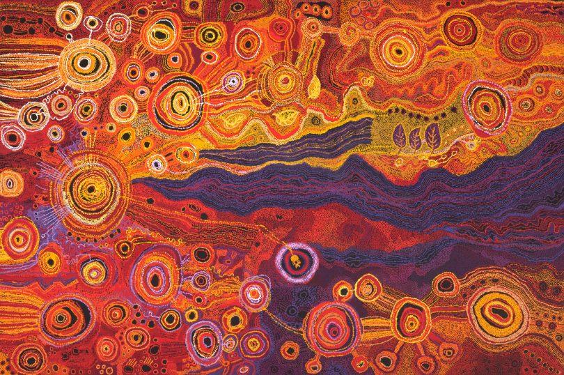Seven Sisters artwork, by Tjungkara Ken, Sandra Ken, Yaritji Young, Freda Brady, Maringka Tunkin.