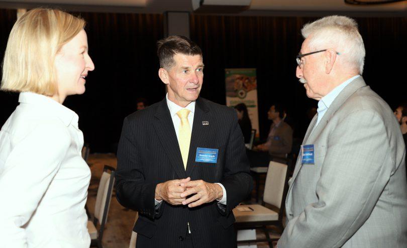 Erin Tomkinson, Brendan Smyth and John Debrincat at the Business Leaders' Forum.