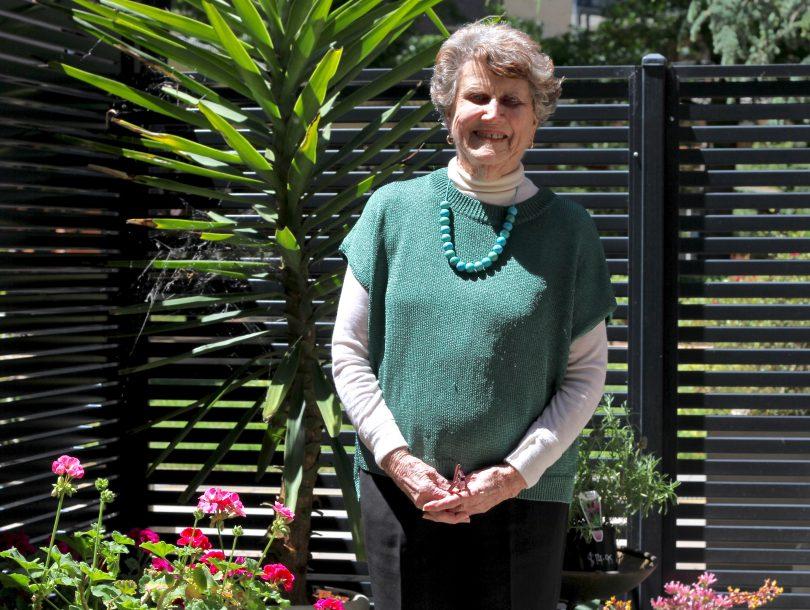 Gwen Vinall in her garden