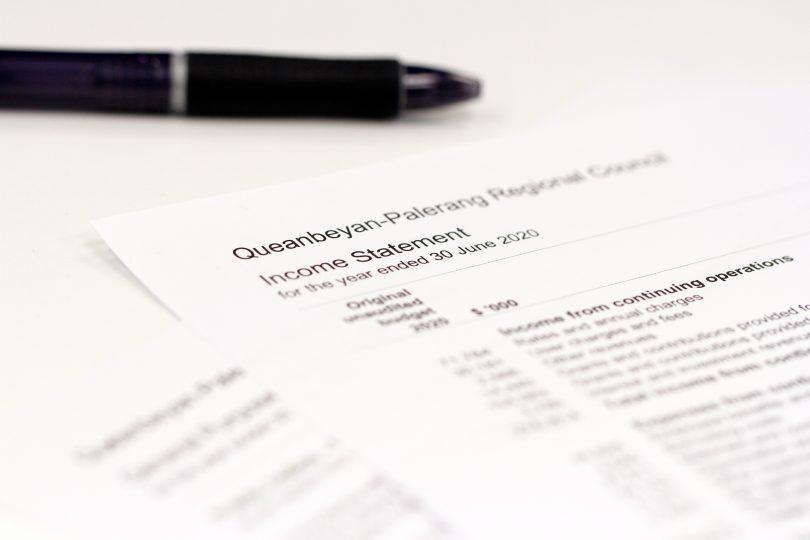 Copy of Queanbeyan-Palerang Regional Council financial statement.