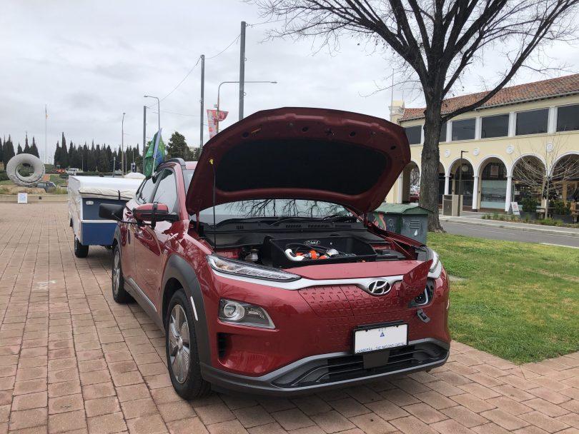 Hyundai Kona Electric with bonnet up.