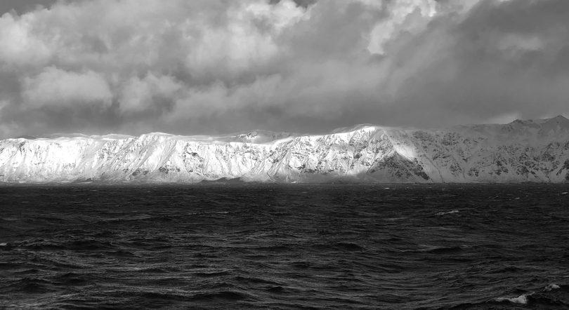 A snow-covered Macquarie Island