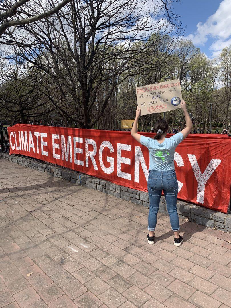 Tara McClelland protesting