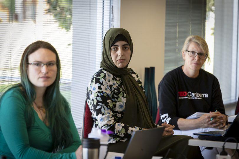 TedxCanberra speakers Alix O'Hara, Dr Marrwah Ahmadzai and Penny Sackett.
