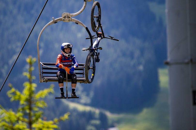 Caroline on a ski chair