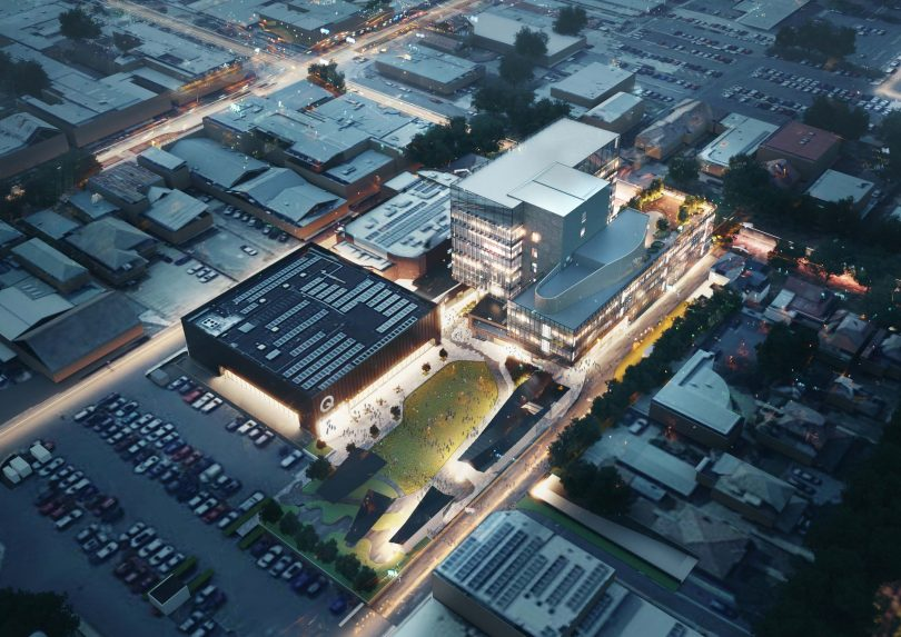 Artist's impression of Queanbeyan Civic and Cultural Precinct site at night.
