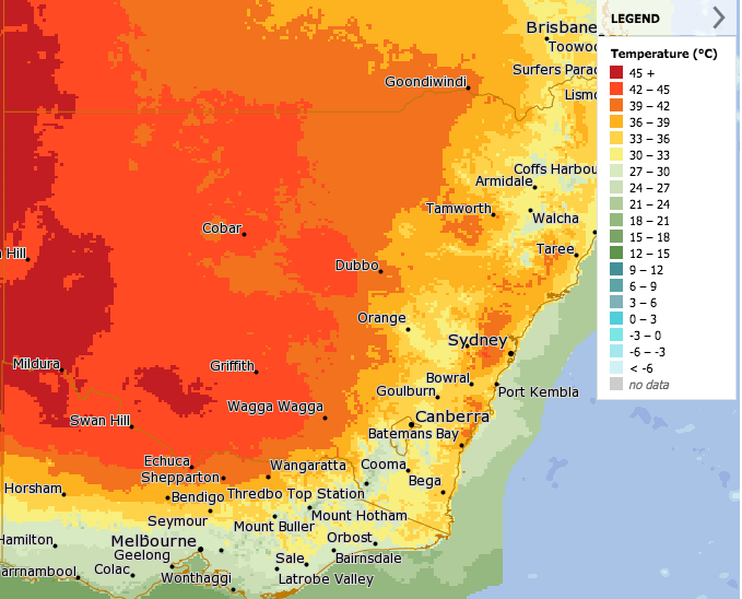 Graphic showing heatwave moving into western NSW