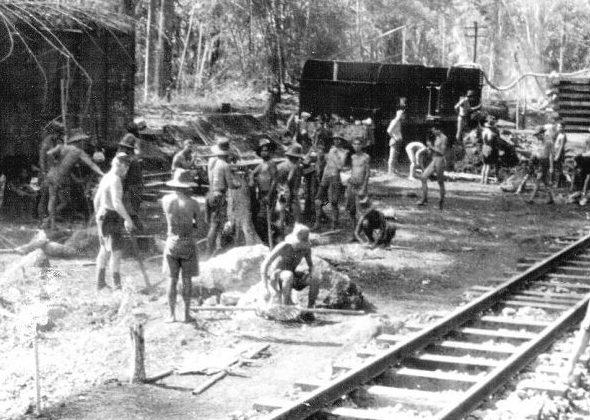 Prisoners of war on the Burma-Thailand Railway during World War II.