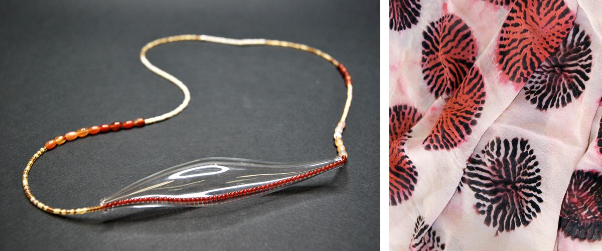 Akie Haga's Sea Pods necklace and Barbara Rogers's Shibori georgette silk scarf.