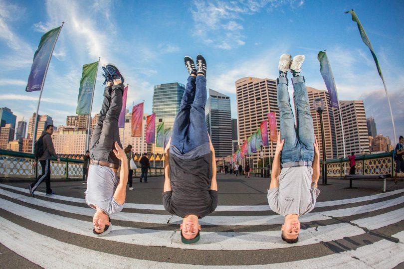 Three breakdancers