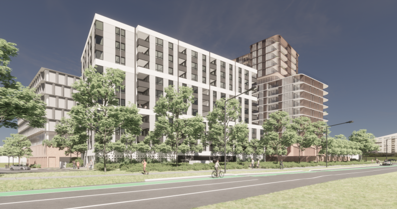 The mixed-use development from Melrose Drive