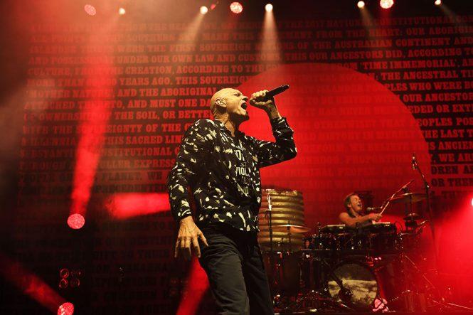 Midnight Oil frontman Peter Garrett live on stage