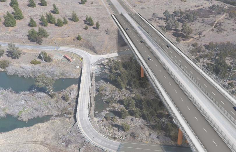 The proposed bridge across the Molonglo Rive