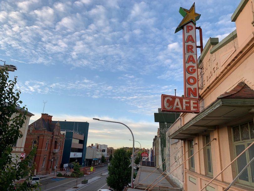 Paragon Cafe sign in Goulburn.
