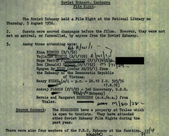 Section of ASIO file on Verity Hewitt.