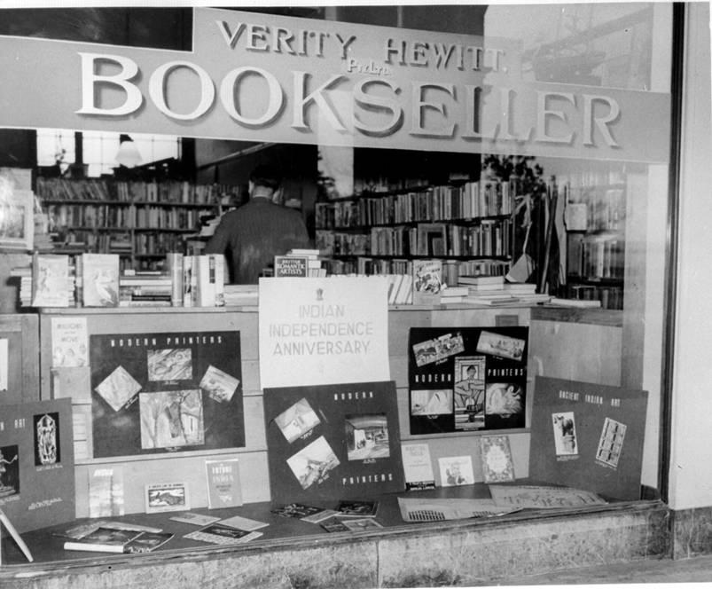 Historical photo of exterior of Verity Hewitt's bookshop.
