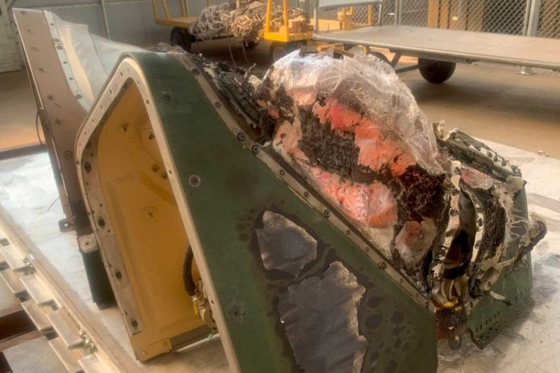A damaged piece of the helicopter that ignited the Orroral Valley bushfire.