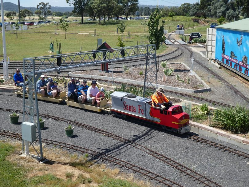 Train carrying visitors at Canberra Miniature Railway.