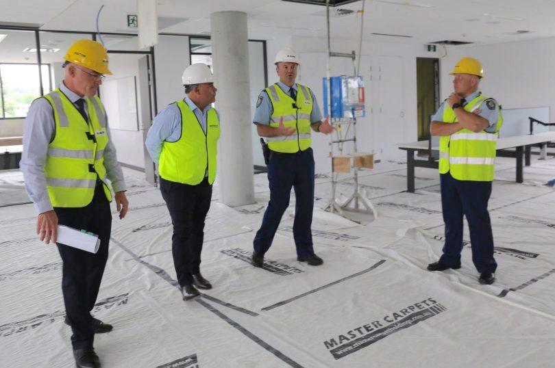 Mal Lanyon, John Barilaro, John Klepczarek and Keith Price inspecting site of new Queanbeyan Police Station.