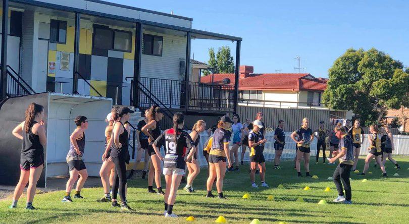 Queanbeyan Tigers women's players at pre-season training.